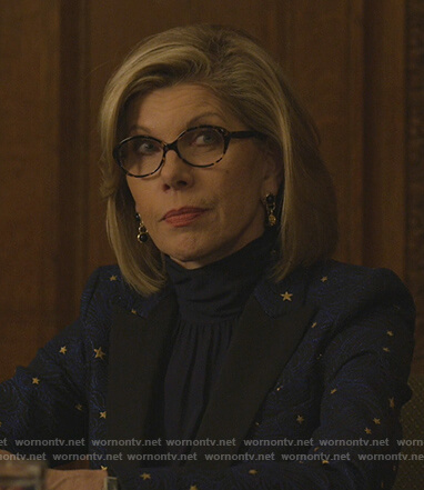 Diane's blue star print blazer on The Good Fight