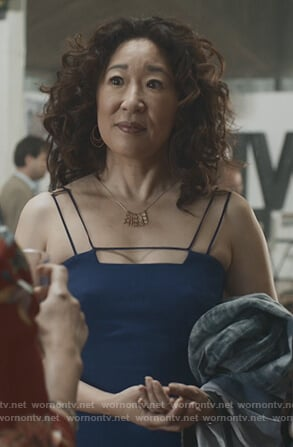 Eve's blue strappy dress on Killing Eve