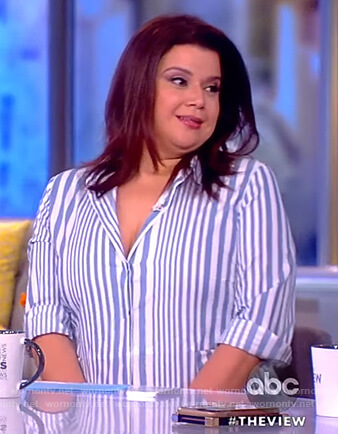 Ana's blue striped shirtdress on The View