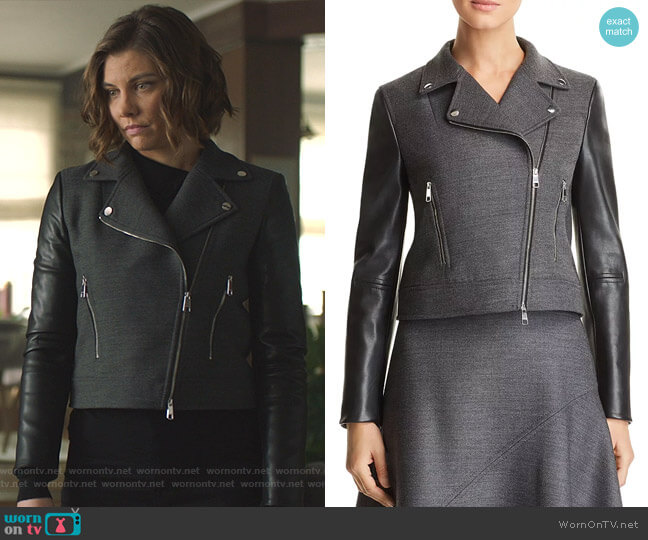Judelina Moto Jacket by Boss  worn by Frankie Trowbridge (Lauren Cohan) on Whiskey Cavalier