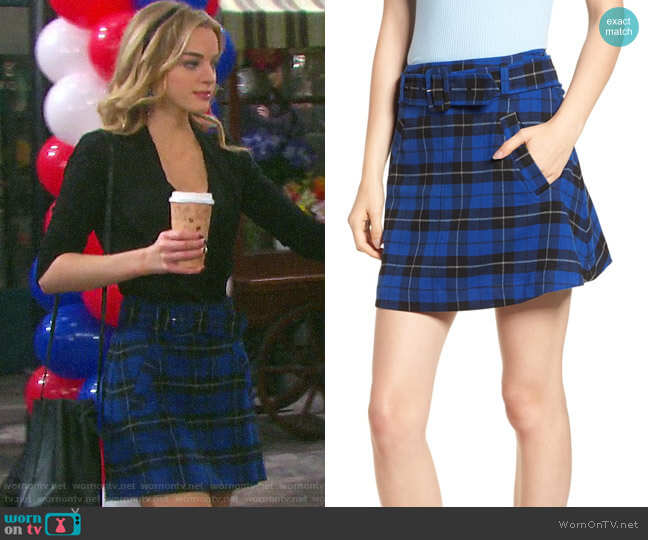 BP Belted Plaid Skirt worn by Claire Brady (Olivia Keegan) on Days of our Lives