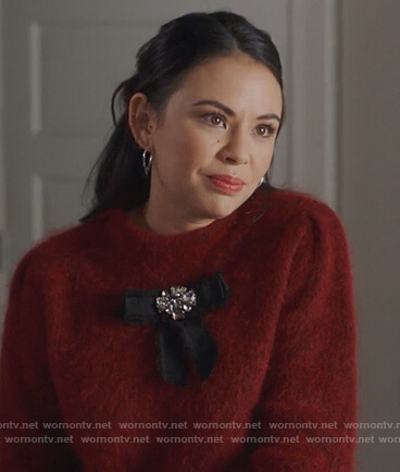 Mona's brooch embellished sweater on Pretty Little Liars The Perfectionists