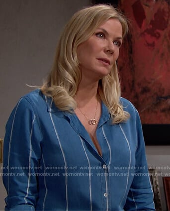 Brooke's blue striped button down on The Bold and the Beautiful