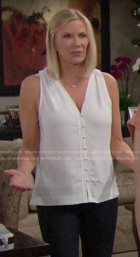 Brooke's white button front tank top on The Bold and the Beautiful