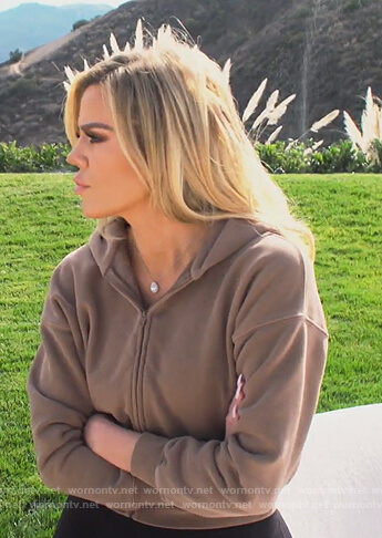 Khloe's brown cropped hoodie on Keeping Up with the Kardashians