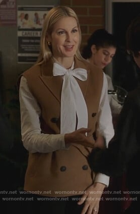 Clair's brown double breasted vest on Pretty Little Liars The Perfectionists