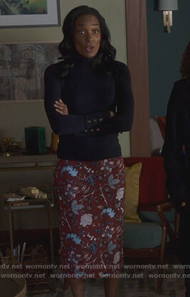 Caitlin's mother's flora skirt on Pretty Little Liars The Perfectionists