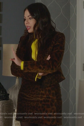 Mona's velvet leopard blazer and skirt on Pretty Little Liars The Perfectionists
