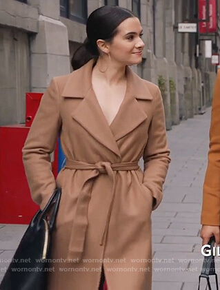 Jane's beige wrap coat on The Bold Type