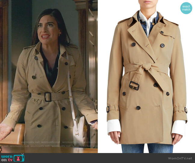 The Kensington Mid-Length Heritage Trench Coat by Burberry worn by Cristal Jennings (Ana Brenda Contreras) on Dynasty
