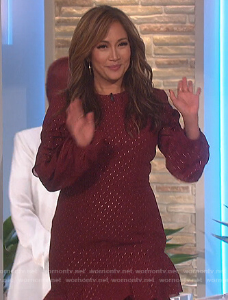 Carrie's burgundy ruffle dress on The Talk