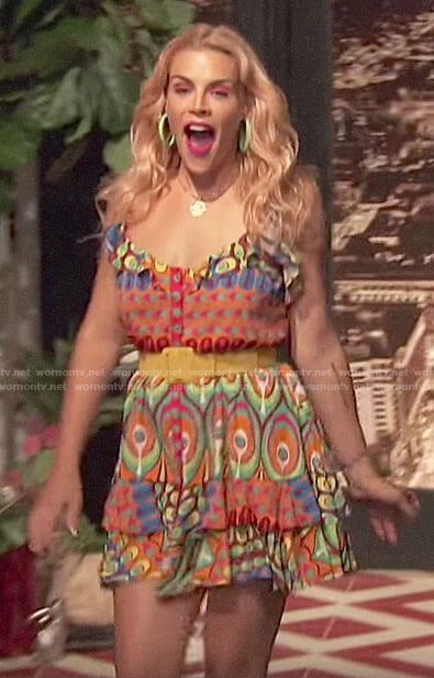 Busy's colourful mini dress on Busy Tonight
