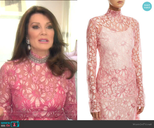 Mock-Neck Long-Sleeve Sheer Lace Blouse by Calvin Klein 205W39NYC worn by Lisa Vanderpump  on The Real Housewives of Beverly Hills