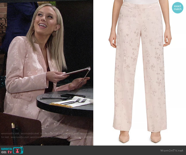 Calvin Klein Floral Jacquard Pants worn by Abby Newman (Melissa Ordway) on The Young & the Restless