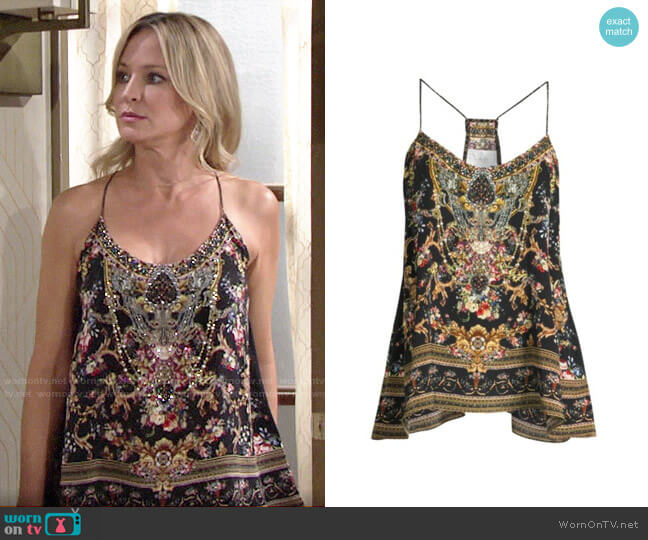 Camilla La Fleur Libertine Floral Silk Camisole worn by Sharon Collins (Sharon Case) on The Young & the Restless