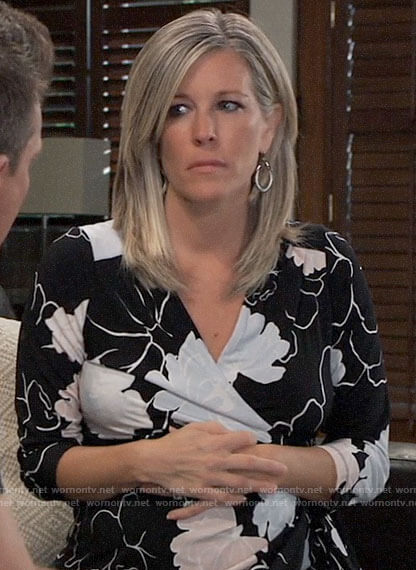 Carly's black floral maternity dress on General Hospital