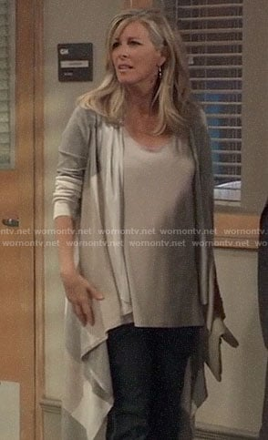 Carly's long draped colorblock cardigan on General Hospital