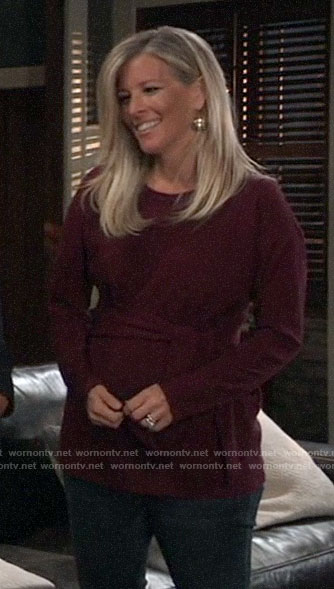 Carly's red tie waist maternity top on General Hospital