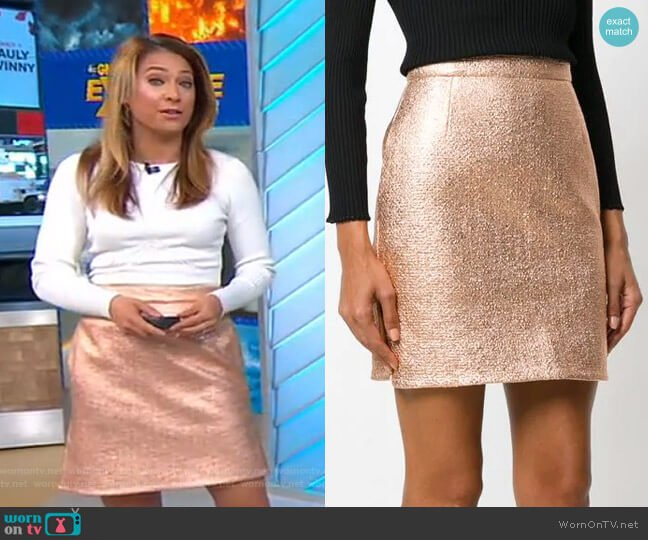 Metallic Mini Skirt by Carven worn by Ginger Zee  on Good Morning America