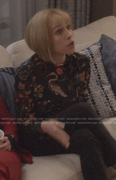 Catherine's floral and bird print top on Veep