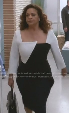 Catherine's colorblock sheath dress on Grey's Anatomy