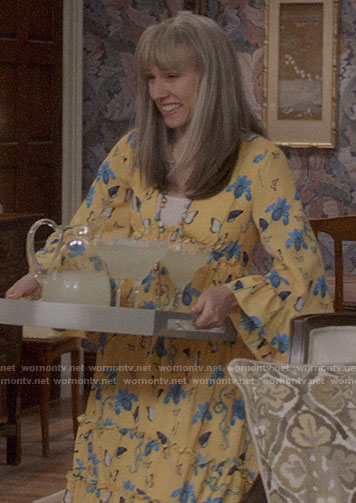 Marjorie's black star print shirt and red suit on Veep