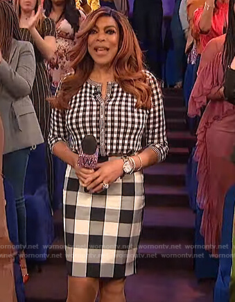 Wendy's checked cardigan and skirt on The Wendy Williams Show