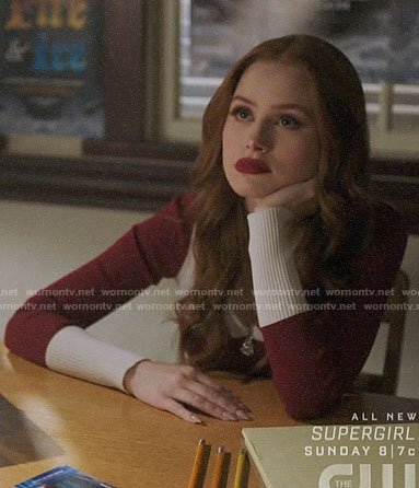 Cheryl's red colorblock zip neck sweater on Riverdale