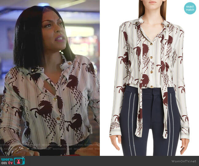 Horse Print Tie Neck Blouse by Chloe worn by Cookie Lyon (Taraji P. Henson) on Empire