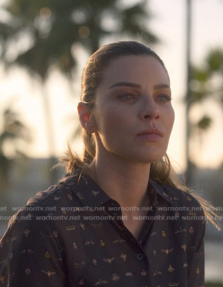 Chloe's black insect print blouse on Lucifer