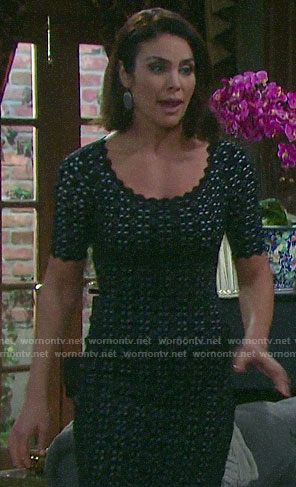 Chloe's black scalloped trim dress on Days of our Lives