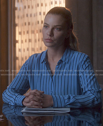 Chloe's blue striped shirt on Lucifer