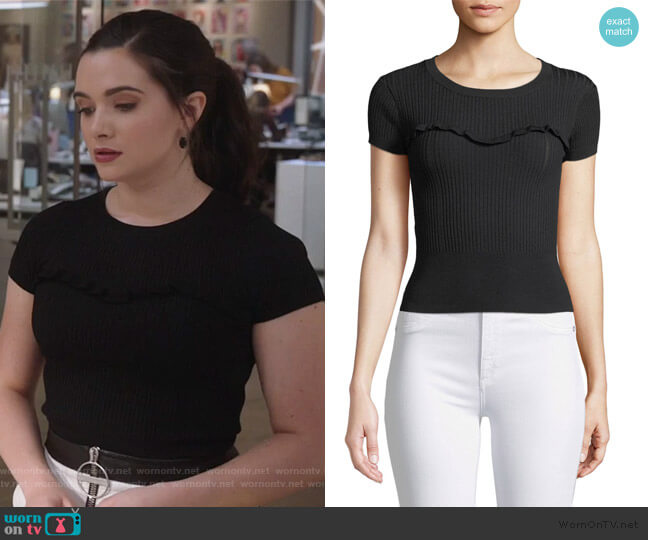 Marina Ribbed Ruffle Tee by Cinq a Sept worn by Jane Sloan (Katie Stevens) on The Bold Type