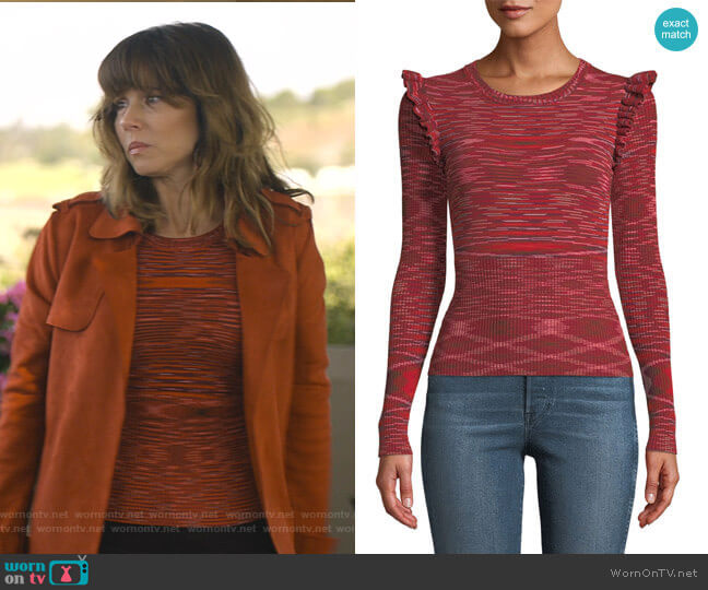 Salma Top by Cinq a Sept worn by Judy Hale (Linda Cardellini) on Dead to Me