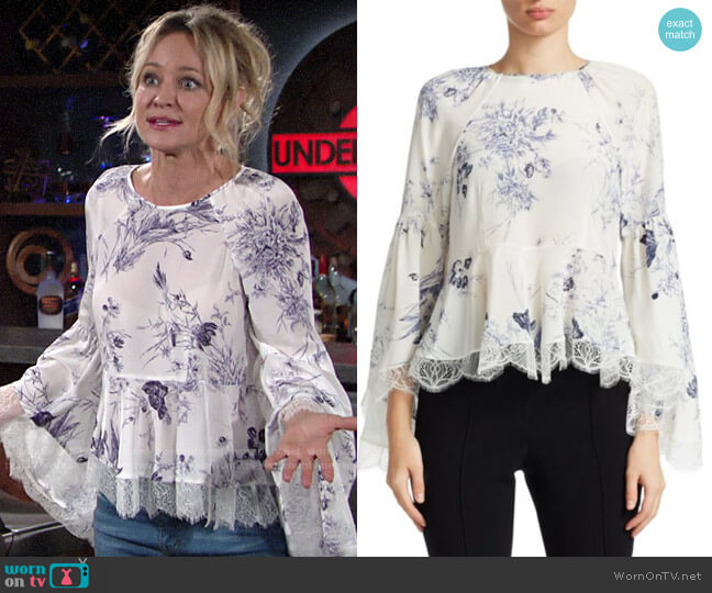 Cinq A Sept Avalon Blouse in Inky Floral worn by Sharon Collins (Sharon Case) on The Young & the Restless