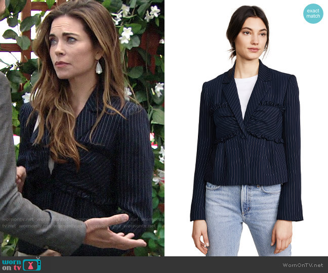 Cinq a Sept Lourdes Blazer worn by Victoria Newman (Amelia Heinle) on The Young & the Restless