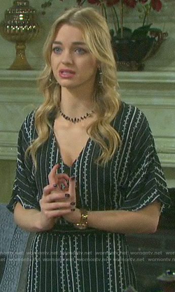 Claire's black printed jumpsuit on Days of our Lives