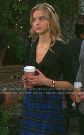 Claire's blue plaid skirt on Days of our Lives