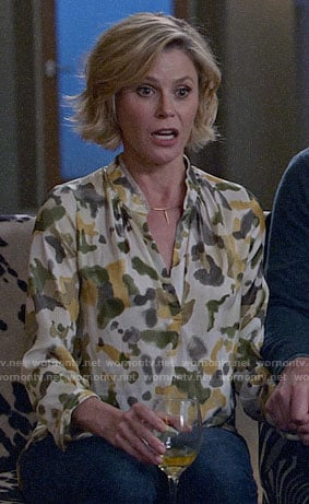 Claire's camo print blouse on Modern Family