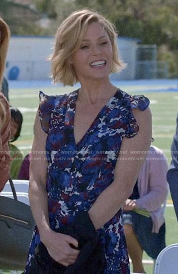 Haley's orange ribbed maternity dress and leather jacket on Modern Family