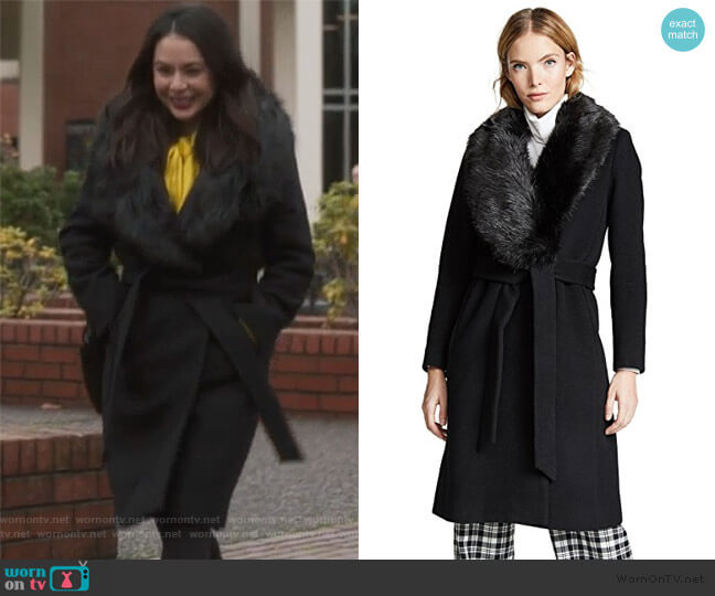 Lenoria Coat by Club Monaco worn by Mona Vanderwaal (Janel Parrish) on PLL The Perfectionists