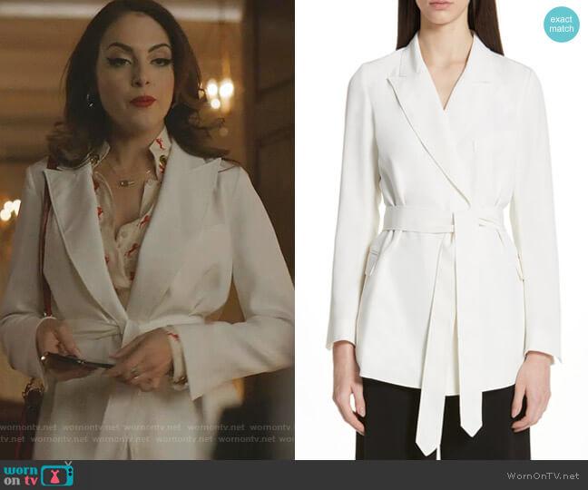 Tie Waist Stretch Crepe Blazer by Co worn by Fallon Carrington (Elizabeth Gillies) on Dynasty