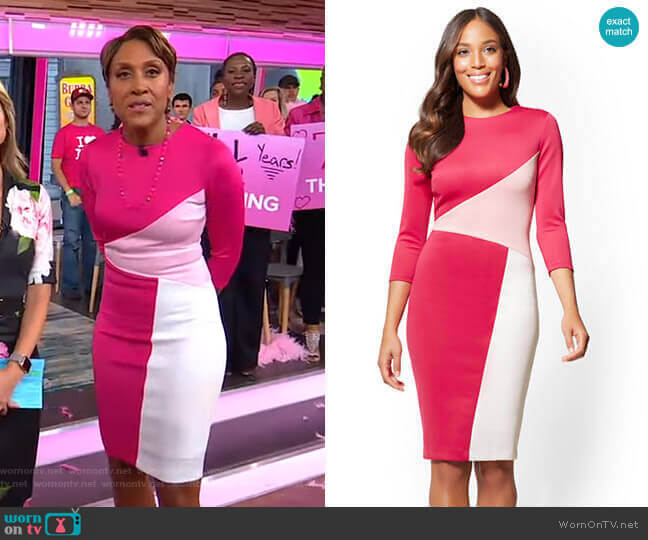 Colorblock Sheath Dress by New York & Company worn by Robin Roberts  on Good Morning America