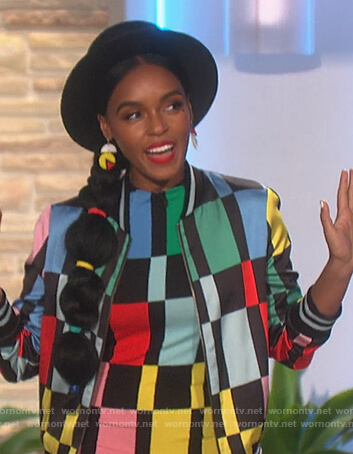 Janelle Monae's colorblock sheath dress and jacket on The Talk