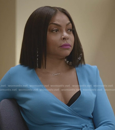 Cookie's blue wrap top on Empire