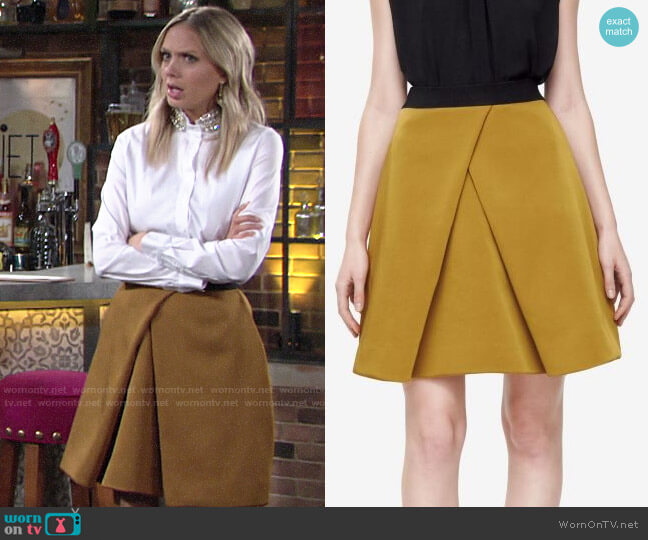 COS Pleated A-Line Skirt in Mustard worn by Abby Newman (Melissa Ordway) on The Young & the Restless