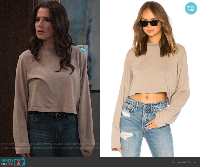 Cotton Citizen The Tokyo Crop Long Sleeve Tee in Cappucino worn by Sam McCall (Kelly Monaco) on General Hospital