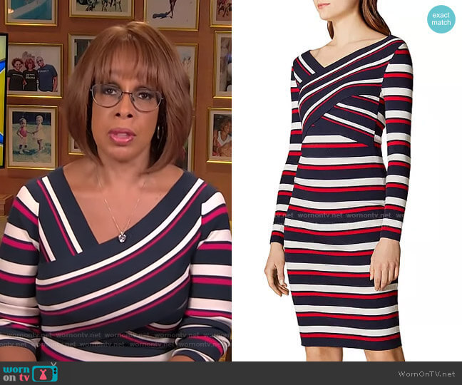 Crisscross Striped Dress by Karen Millen worn by Gayle King  on CBS This Morning