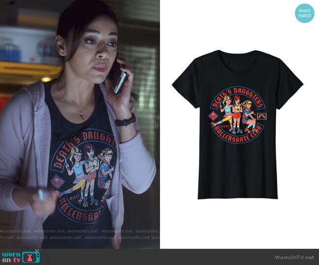 Death's Daughters Roller Skate Club T-Shirt worn by Ella Lopez (Aimee Garcia) on Lucifer