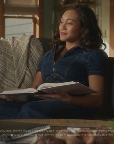 Caitlin's denim jumpsuit on Pretty Little Liars The Perfectionists